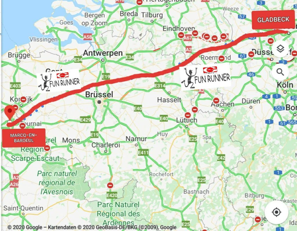Die Strecke von Gladbeck nach Marcq-en-Baroeul